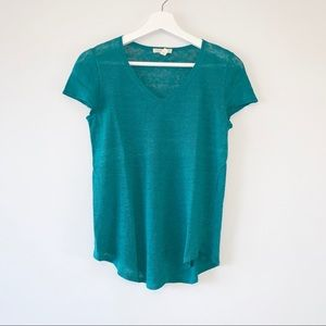 Eileen Fisher teal slub linen v neck tee - small